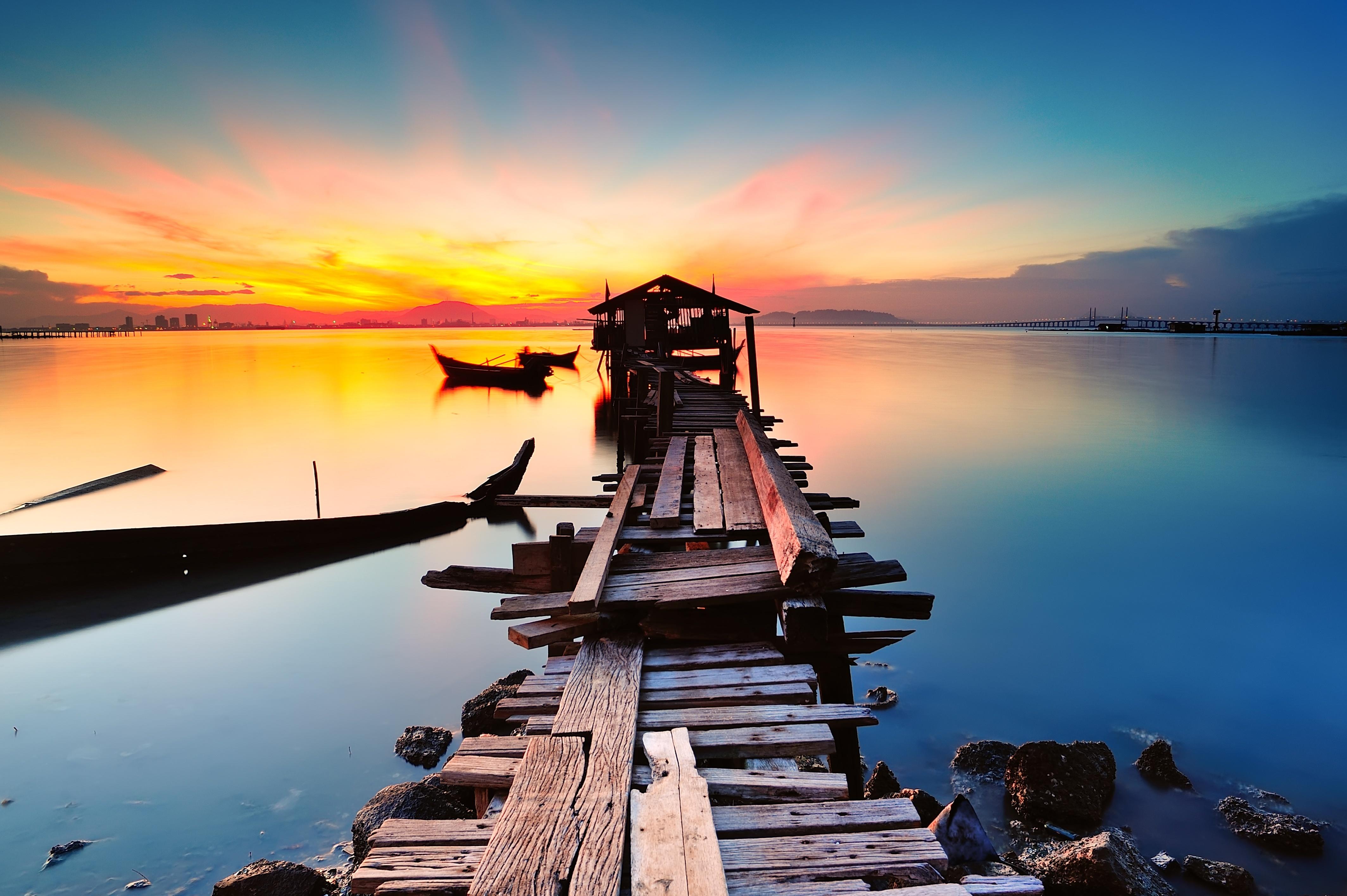 Long fishing pier at Jelutong Penang, Malaysia